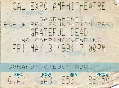 Grateful Dead Ticket Stub  05-03-1991   Cal Expo Amphitheatre