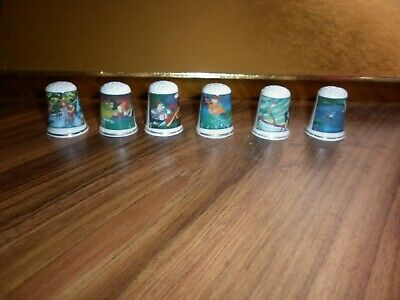 Thimbles Six Peter Pan With Gold Rings Unused Collectables