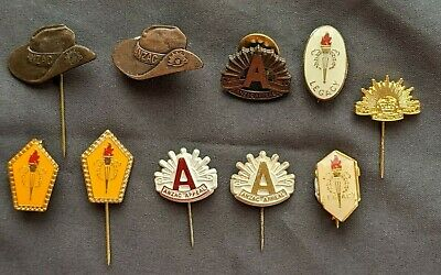 10 Vintage Badges & Pins Anzac Day, Legacy, Anzac Appeal, Rising Sun