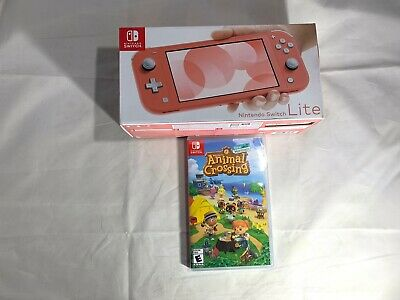 Brand New Nintendo Switch Lite Coral with Animal Crossing