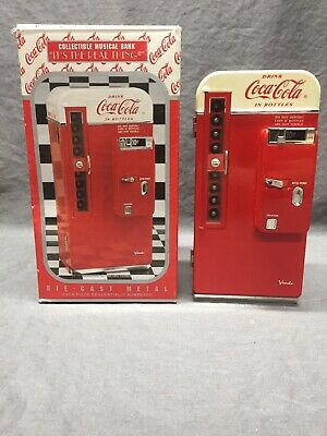Coca Cola Die Cast Metal Collectible Musical Vending Machine Bank 1994 Works