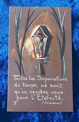 Vintage Antique Belgium Jesus Cross Religious Holy Prayer Card Catholic Vtg