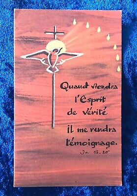 Vintage Antique Belgium Dove Cross Religious Holy Prayer Card Catholic Vtg