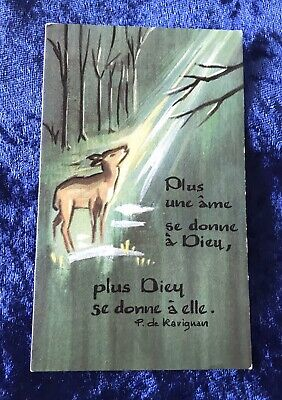 Vintage Antique Belgium Deer Fawn Art Religious Holy Prayer Card Catholic Vtg