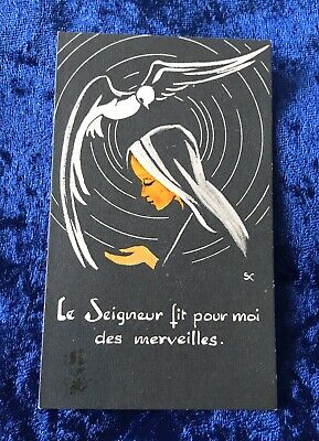 Vintage Antique Belgium Nun Prayer Art Religious Holy Prayer Card Catholic Vtg