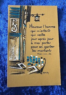 Vintage Antique Belgium Proverbs VIII 8 Religious Holy Prayer Card Catholic