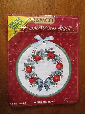 Semco  Cross Stitch Kit Of Framed Apples & Roses Partly Stitiched