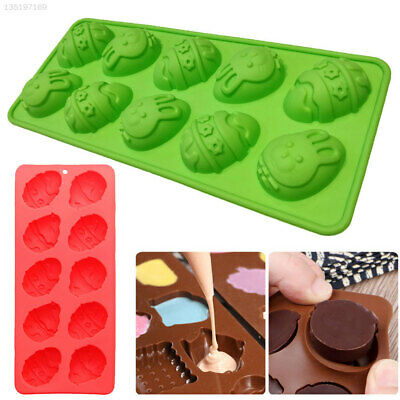 D899 Egg Shape Mold Easter Cake Mold 10-Cavity Bunny Decoration Food Tool