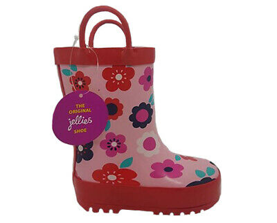 Girls Shoes Jellies Bloom Gumboot Flower print on Pink Red Trim Pull on Size 11