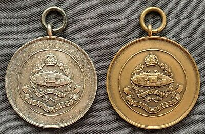 Royal Tank Corps Athletics Sports Prize Medals, Javelin & Hammer, Pre 1939
