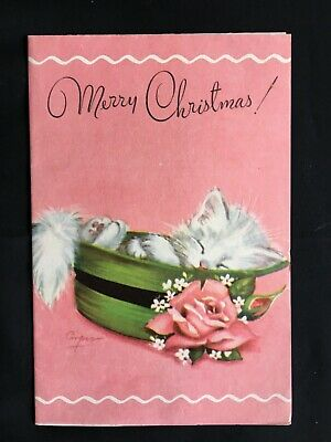 Vintage Collectable Greeting Card - c1950s - White Fluffy Kitten in Green Hat