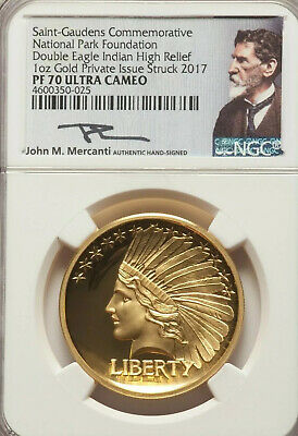 2017 $20 Double Eagle Indian Head Pattern HR 1//2 oz Gold Medal NGC PF69 SKU52221