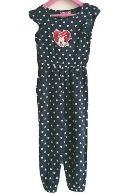 Disney Minnie Mouse Girls Navy Blue w White Hearts Sleeveless Jumpsuit ~ Age 2-3