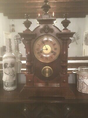 A Lovely Victorian HAC Mantle Clock Very Ornate 3 Turned Original Finials On Top