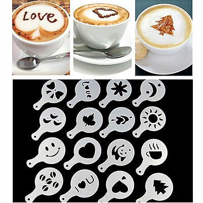16pcs Latte Art Mould Coffee Stencil Cappuccino Foam Milk Tea Drink Craft DeK7G