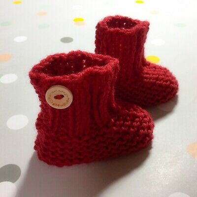 Hand Knitted Newborn 0000 Baby Red Booties, Socks, Aus Pure Wool