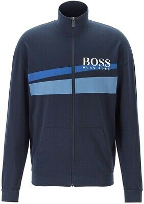 RRP £150 Hugo Boss Premium Mens Track jacket zipped Size XL AUTHENTIC blue green