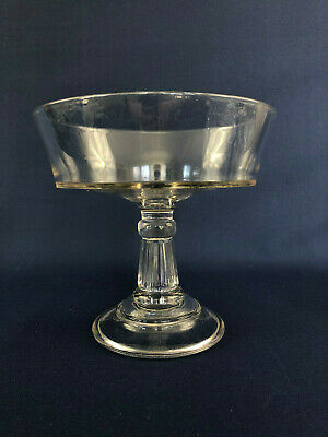 Antique Victorian clear pressed glass footed compote 1880s 1890s