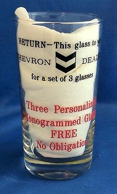 Vintage Chevron Gasoline Gas Dealer Drinking Glass Promotional Initial S Red