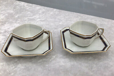 Pair Of Vintage Fraureuth Germany Porcelain Gilt Demitasse Cups & Saucers 30422