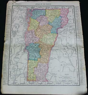 Rand Mcnally Atlas Map Page New Hampshire & Vermont 1898 Vintage