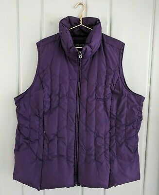 Lane Bryant Womens Plus 4X 28 26 Down Quilted Puffer Vest Purple Winter Full Zip