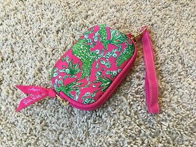 Lilly Pulitzer Wristlet Pink Green Alligator Pattern Soft Wallet Change Purse