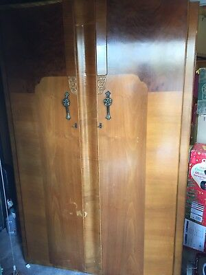 Original Vintage Gentlemen's Art Deco Walnut  Large 2 Door Wardrobe Supersuite
