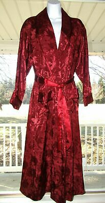 VVintage Victorias Secret Bath Robe Burgundy Wine Damask Elegant Sz PS
