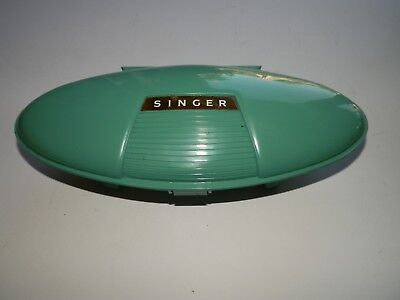 1960 Singer Buttonholer In Box With Accessories - Atomic Design Green Clam Box