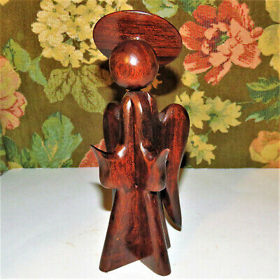 "Mid Century Modern Vintage Carved Ironwood Christmas Angel. 8"" EUC"