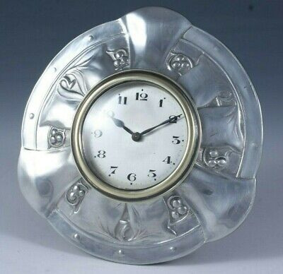 Liberty & Co Tudric pewter desk travel clock designed by Archibald Knox c.1905