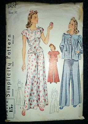 """RARE VINTAGE 1930s/1940s SIMPLICITY SEWING PATTERN WIDE LEG TROUSERS BUST 30"""""""