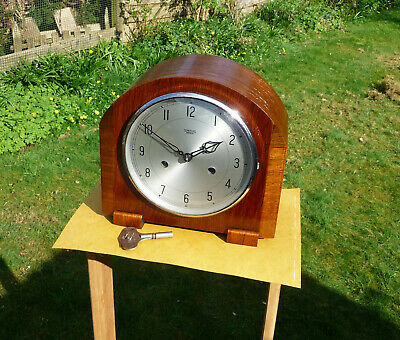 Vintage restored 1950s  Smiths Enfield striking  mantle clock with original key.