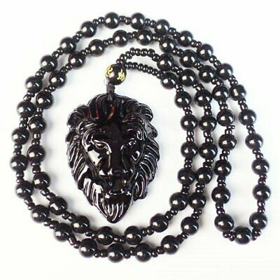 Carved Black Agate Lion Hed Round Ball Pendant Bead Necklace 17.5 inch L08414