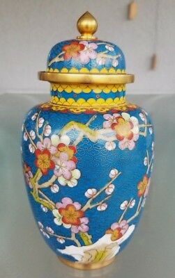"8"" Vintage Chinese Blue Cloisonne Temple Jar / Ginger Jar urn Lidded Butterfly"