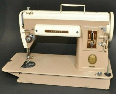 Vtg 1956 Singer Sewing Machine 301A w/ Foot Pedal, Cord, Case,Oil  RARE 2 Tone
