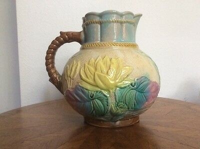 Antique Victorian Pitcher Water Lily English Water Wine Jug Pitcher 1800's