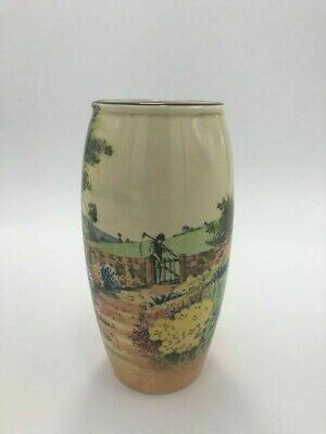 Royal Doulton Vase Rural England Country Scene--Old Man With Scythe