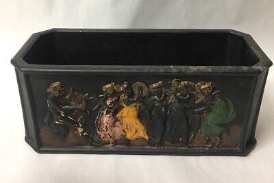Vtg Cold Painted Cast Pot Metal / Spelter Planter Dish Figural Dancers