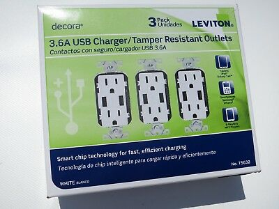New! / Sealed! Leviton Decora 3.6A USB Charger/Tamper Resistant Outlets - 3 Pack
