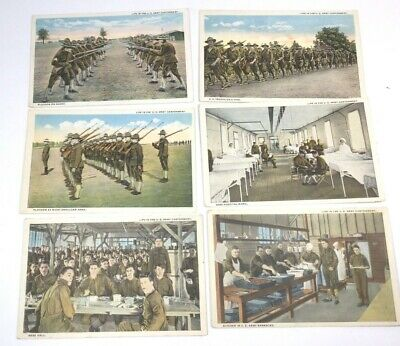 "Vintage Military Postcards Lot Of 6, ""Life In The U S Army Cantonment"" Unposted"