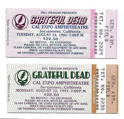Grateful Dead Ticket Stubs Cal Expo 1991 Run **Mail Order**