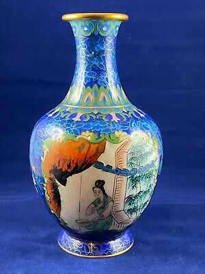Old Chinese Cloisonne Vase With Two Hand Painted Medallion Portraits