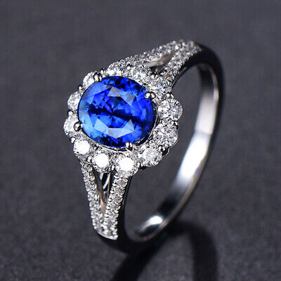 Gorgeous 925 Silver Wedding Rings for Women Round Cut Sapphire Ring Size 6-10