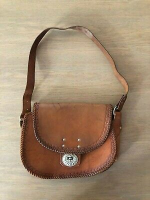 Incredible Vintage Retro Tooled Leather Saddle Bag with Silver Catch