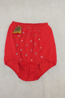 Vintage NWT Avisco Acetate Floral Panties RED Size 12 Embroidered Flowers Pin Up