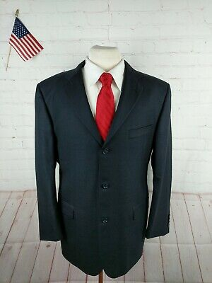 Burberry Men's Navy Blue Solid Three Button WOOL Suit 40R Pants 35X30 $1,979