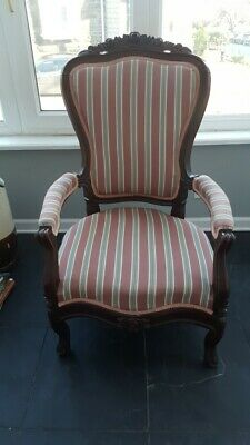 Antique Victorian Parlor Chair Solid Wood Striped Upholstered LOCaL PICKUP ONLY