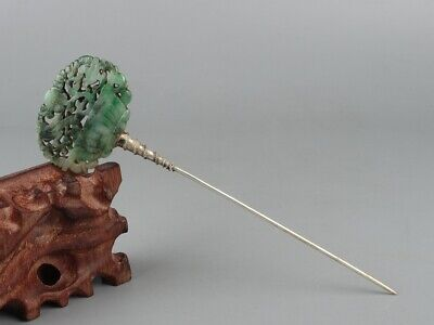 Chinese Exquisite Handmade flower bird jadeite jade hairpin